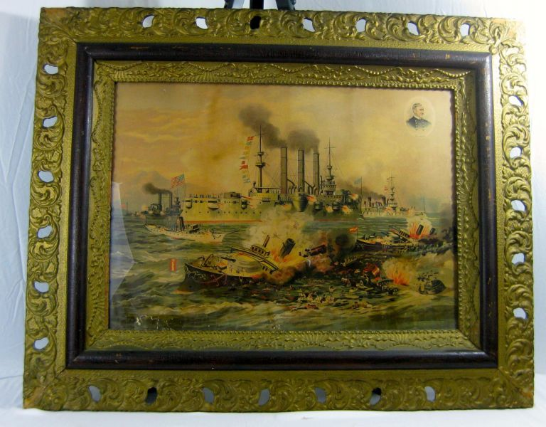 DESTRUCTION OF ADMIRAL CERVERA'S FLEET, AT SANTIAGO DE CUBA, JULY 3rd, 1898. Spanish-American War, Xanthus Smith.