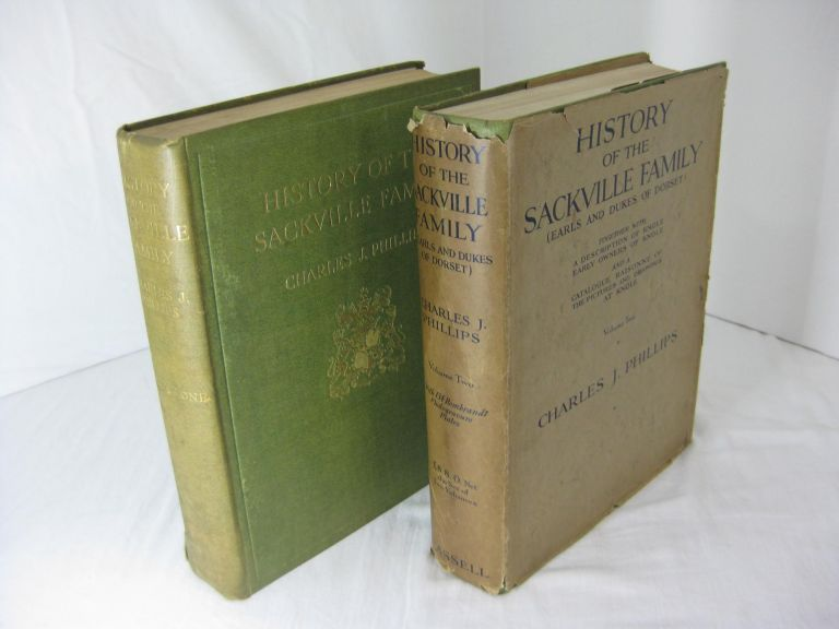 HISTORY OF THE SACKVILLE FAMILY (Earls and Dukes of Dorset) Together with A Description of Knole, Early owners of Knole and a Catalogue Raisonne of the Pictures and Drawings at Knole. (Two volume set, complete) ( Inscribed by the author's widow )
