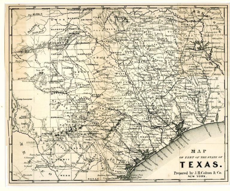 New Map Of Texas.Map Of Part Of The State Of Texas By Map J H Colton On Frey Fine Books