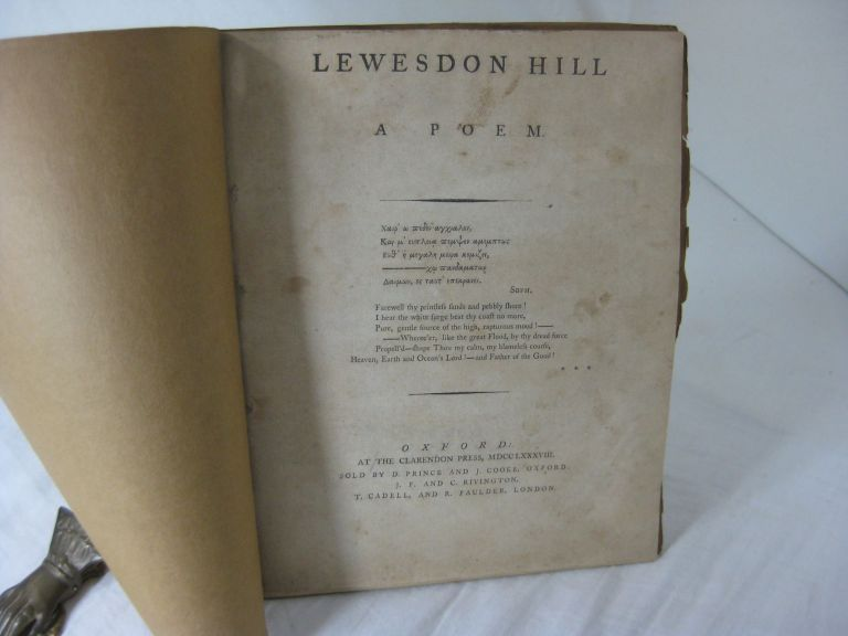 LEWESDON HILL: A Poem. William Crowe.