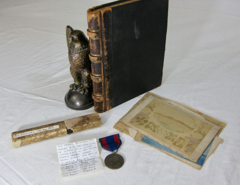SPANISH AMERICAN WAR DIARY & MEDAL FROM SAILOR ONBOARD THE U.S.S. OLYMPIA. Edward Morris Straughn.