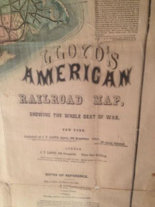 LLOYD'S AMERICAN RAILROAD MAP: Showing the Whole Seat of the War.