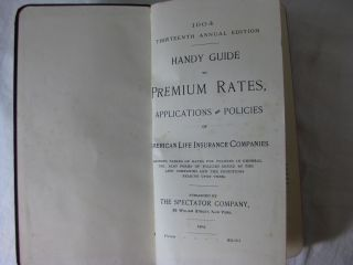 HANDY GUIDE TO PREMIUM RATES, APPLICATIONS AND POLICIES OF AMERICAN LIFE INSURANCE COMPANIES. 1904 Annual edition.