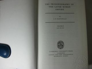 THE PROSOPOGRAPHY OF THE LATER ROMAN EMPIRE. Complete set. 3 volumes in 4 parts. Vol.1 - A.D. 260-395; Vol.2 - A.D 395-527; Vol.3- A.D. 527-641