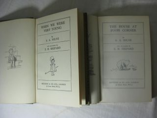 When We Were Very Young, Winnie-the-Pooh, Now We Are Six & The House at Pooh Corner ( Four volumes in matching multi color fine full leather bindings )