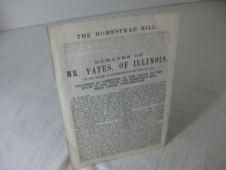 The Homestead Bill. REMARKS OF MR. YATES, OF ILLINOIS, in the House Of Representatives, Feb. 28,...
