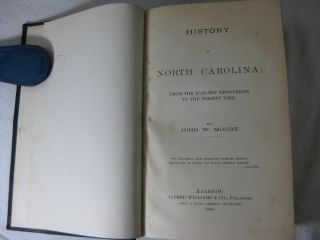 HISTORY OF NORTH CAROLINA; From the Earliest Discoveries to the Present Time. (2 volume set, complete)